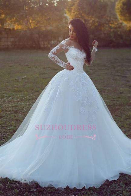 Long-Sleeves Appliques Glamorous Tulle Ball Wedding Dress qq0308
