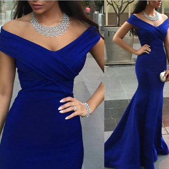 Off-the-shoulder Evening Dresses Mermaid Royal Blue Prom Dress