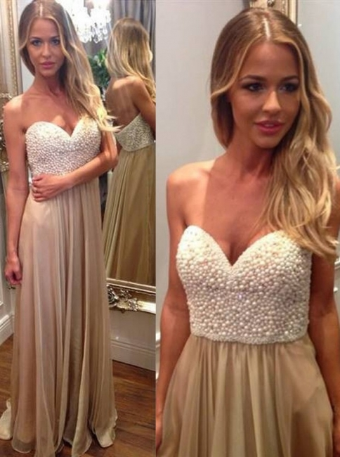 Sweetheart Beading Long Prom Dresses Latest Floor Length Evening Gowns