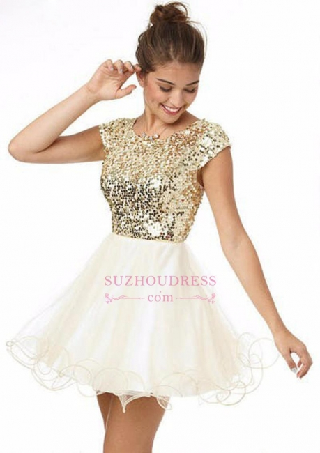 Short Sleeves Lovely Mini Party Dresses Puffy Organza  Gold Sequins Homecoming Dress