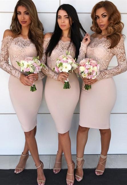 Long-Sleeve Lace Bridesmaid Dress   Knee-Length Sheath Maid of Honor Dress
