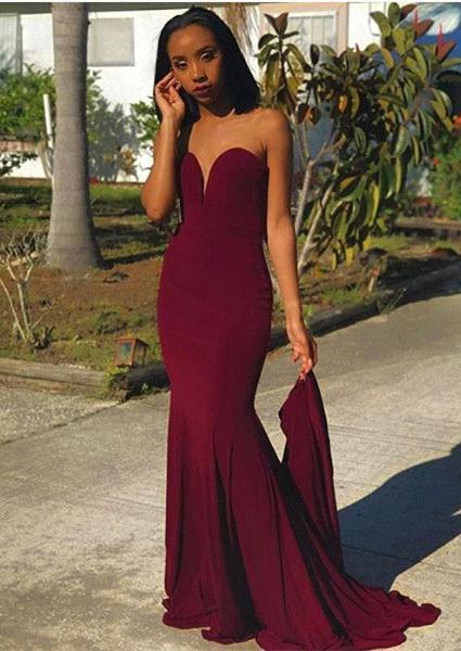 Sweetheart Sheath  Burgundy Prom Dress |  Strapless Long Evening Dress