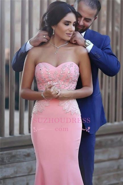 Pretty Sleeveless Mermaid Evening Dress  Sequins Beads Pink Crystals Sweetheart Prom Dress