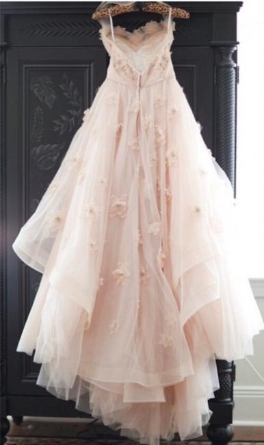 Elegant Spaghetti Strap Tulle Applique Long Wedding Dress In Pink CJ0319
