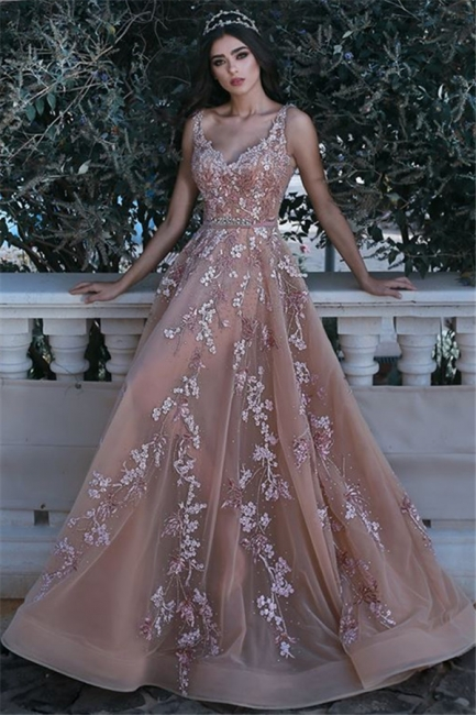 V-neck Sleeveless Champagne Pink Prom Dresses  Appliques Beads Sequins Evening Gown with Flowers BA7913
