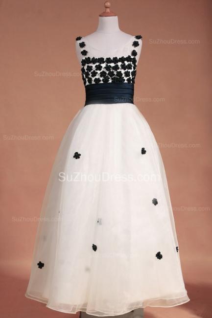 White Flower Girl Dresses Scoop Flowers Beading Lovely Sweep Train Zipper Organza Pageant Dress