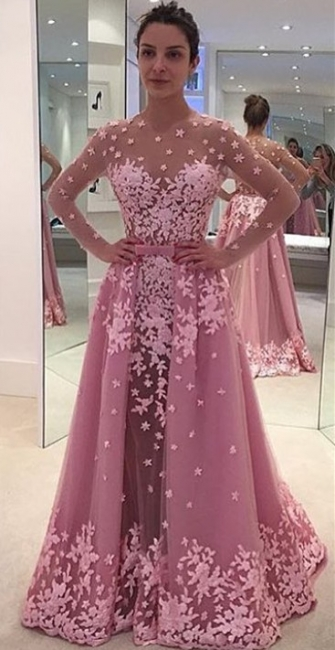 Candy Pink Long Sleeve Prom Dress Lace Appliques Overskirt  Evening Gown BA7077