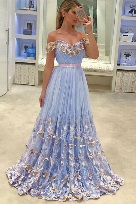 Glamorous A-Line Off Shoulder Evening Dresses | Tulle Flowers Open Back Prom Dresses