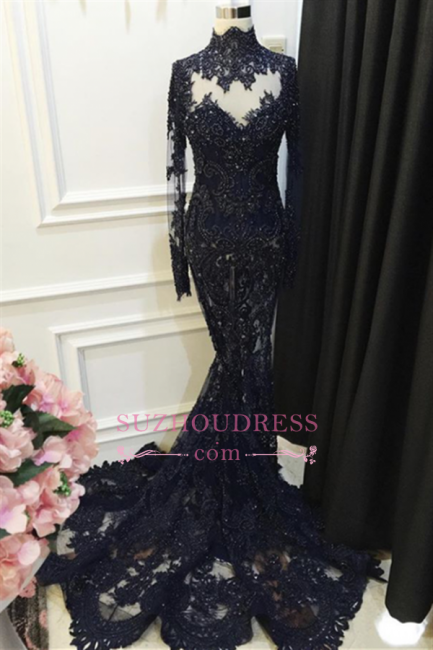 High Neck Beaded Long Sleeve Evening Dress Appliques Lace Sequined Black Prom Dress