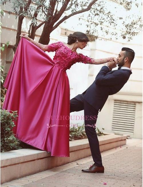 Off-The-Shoulder Long-Sleeves A-Line Floral Prom Dresses