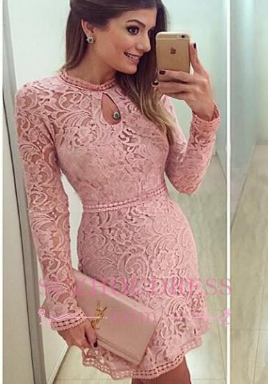 Charming A-line Scoop Neckline Long Sleeves Pink Short Lace Prom Dress