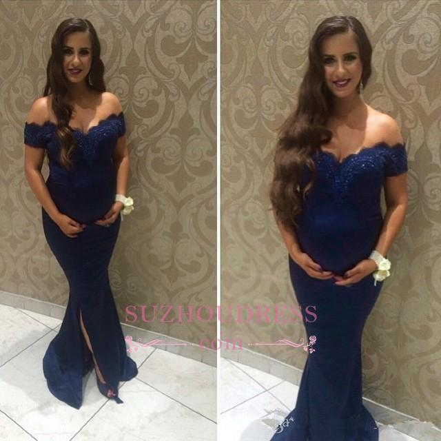 Beads Newest Off-the-shoulder Maternity Dresses  Lace Sweep Train Front Split Baby Shower Dress BA7007