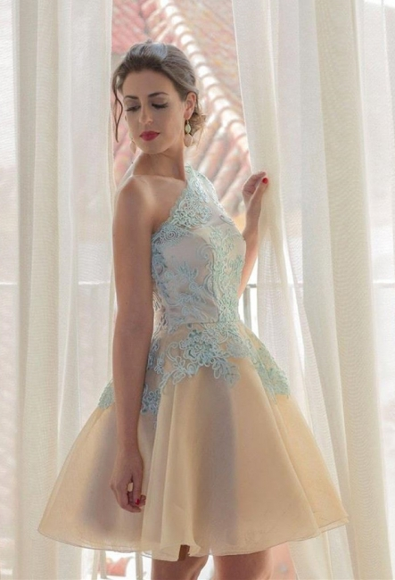 A-Line One Shoulder Mini Homecoming Dress Half Sleeve Short  Cocktail Gowns