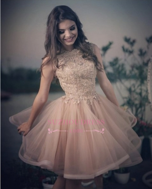 Elegant A-line Tulle Lace Homecoming Dresses |  Short Sleeveless Party Dresses