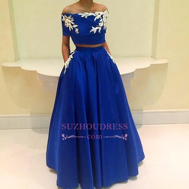 Royal-Blue A-Line Two-Pieces Appliques Off-the-Shoulder Prom Dress BA4634
