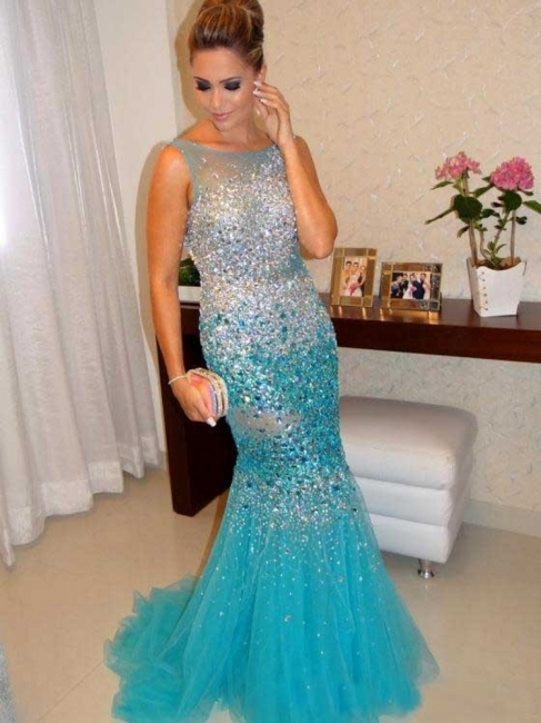 Sexy Mermaid Tulle Long Evening Dress with Crystals Open Back Plus Size Formal Occasion Gowns