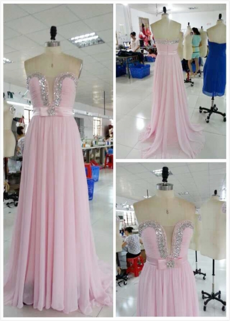New Arrival Sweetheart Chiffon Prom Dress A-Line Crystal Formal Occasion Dresses