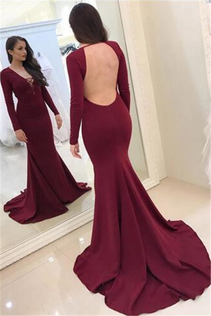 Sexy Burgundy Long Sleeves Evening Dresses  Backless Mermaid V-Neck Prom Dresses