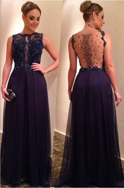 Crystal Dark Blue Long Evening Dress with Beadings Open Back Long Formal Occasion Dresses BA6312