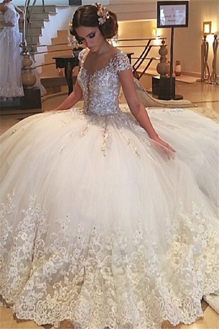 Gorgeous Cap-Sleeves Beaded Wedding Dresses  | Crystals Lace Tulle Bridal Ball Gowns