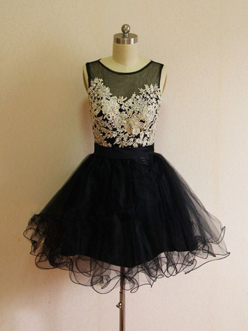 A-Line Black Lace Applique  Homecoming Dresses Latest Sleeveless Mini Cocktail Dress