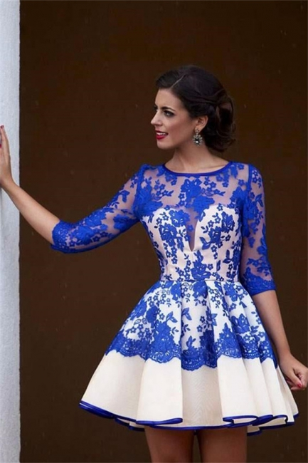 Royal Blue Lace Homecoming Dresses   Half Sleeve Short Evening Gowns BA3268