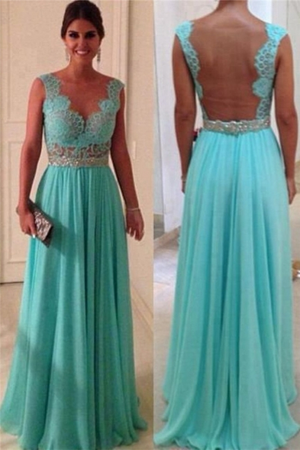 Jewel Lace Chiffon Prom Gowns Sweep Train Applique Sleeveless Evening Dresses