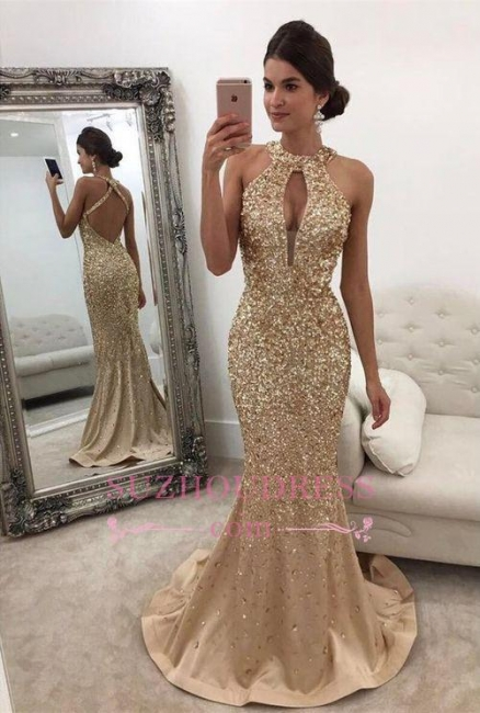 Gorgeous Backless Formal Dress  Mermaid Halter Sleeveless Crystals Prom Dress BA5572
