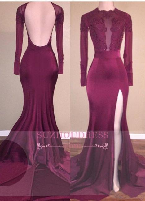 Backless Long Sleeves  Burgundy Mermaid Appliques Side-Slit Prom Dress BA5416