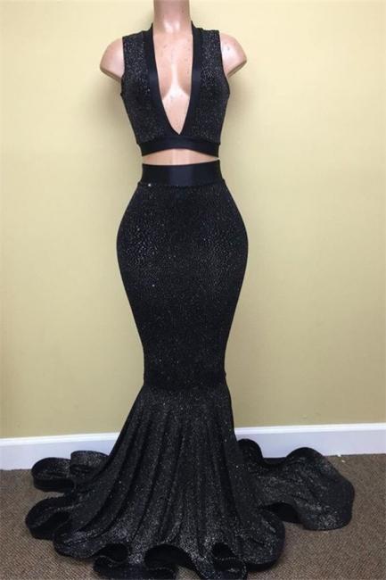 Black Two Pieces Sequined Prom Dresses  Deep V-Neck Sleeveless Evening Dresses BA8041