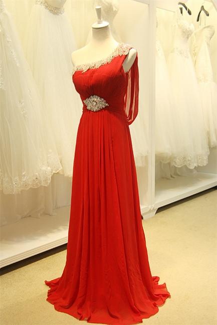 Red One Shoulder Crystal Chiffon Long Prom Dreses Sheer Back  Grad Dresses