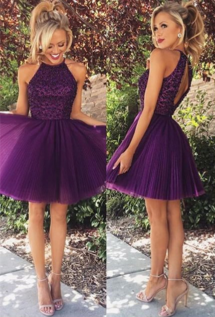 New Arrival Purple Halter Mini Homecoming Dress Tulle Open Back Plus Size Short Cocktail Dress