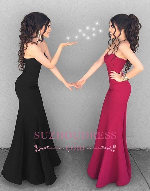 Black Mermaid Simple Long Formal Dress  Stylish Sweetheart-neck Evening Dresses