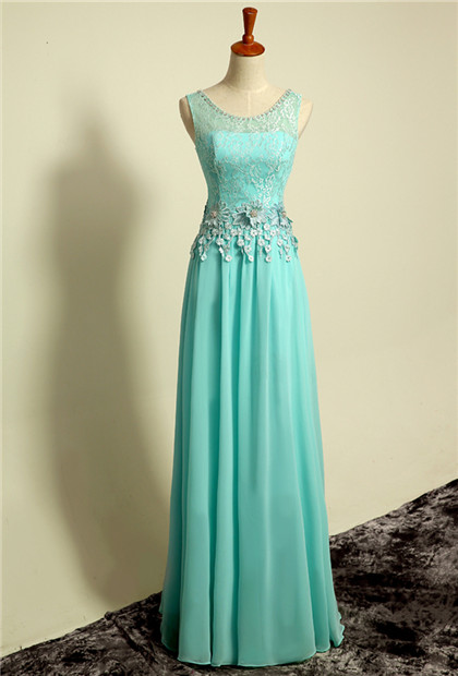 Ice Blue Floor Length Lace  Prom Gowns Applique Sexy Charming Evening Dresses