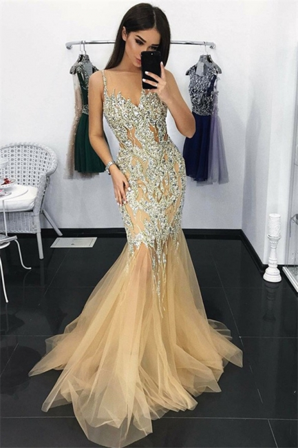 Gorgeous Mermaid Tulle Evening Dresses  | Spagehtti Straps Crystal Party Dress