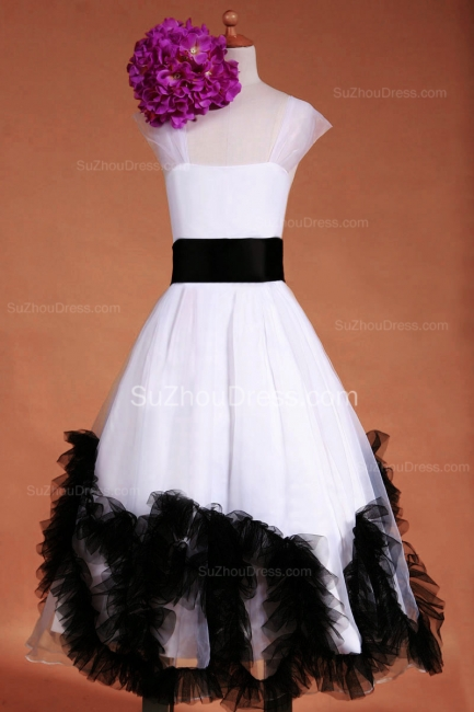 Cuty White Flower Girl Dresses Square Black Sash Tiered Ruffle Lovely Floor Length Zipper Organza Pageant Dress