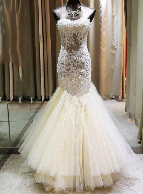 Gorgeous Mermaid Sweetheart Wedding Dress Lace Applique  Bridal Gown with Long Train CE0159