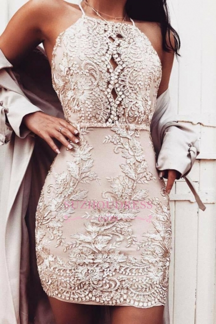 Short Sheath Champagne Hoco Dresses  | Beading Halter-Neck Homecoming Dresses