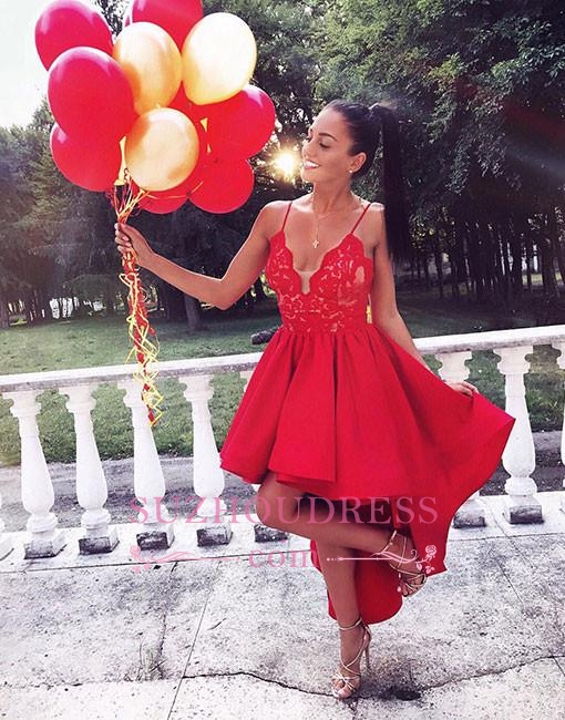 Cute Red Lace High-low V-neck A-line Homecoming Dress LPL323