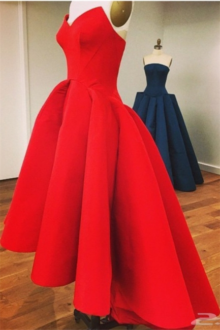 Red Sweetheart High Front Low Back Prom Dress  Elegant Sexy Plus Size Formal Dress