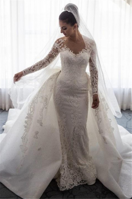 Gorgeous Mermaid Lace Wedding Dress with Sleeves | Bowknot Detachable Overskirt  Bride Dress