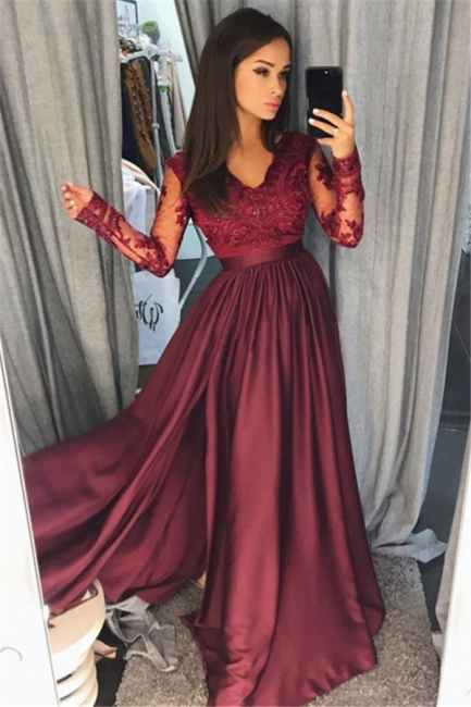 Long Sleeve Burgundy Lace Prom Dress   V-neck New Arrival Formal Evening Dress with Split FB0205
