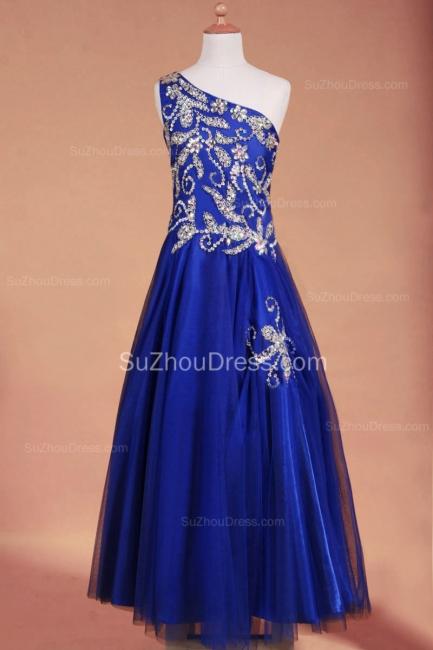 Royal Blue Flower Girl Dresses sequins rhinestone crystal One Shoulder Zipper Floor Length Pageant Dresses