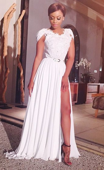 Latest A-line White Chiffon Long Evening Dress Sexy Lace Side Slit Formal Occasion Dresses BO9515