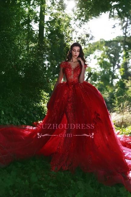 Glamorous Applique Red Over-Skirt V-Neck Lace Prom Dresses BA7655