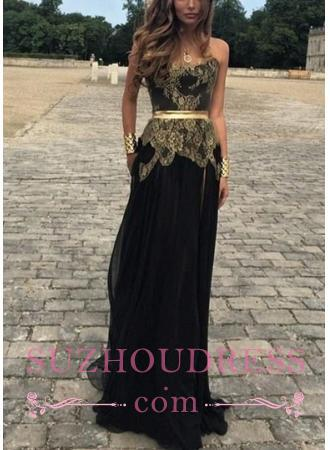 Sexy Belt Golden Gold Applique Black Chiffon New Dresses Lace Prom Evening Gowns