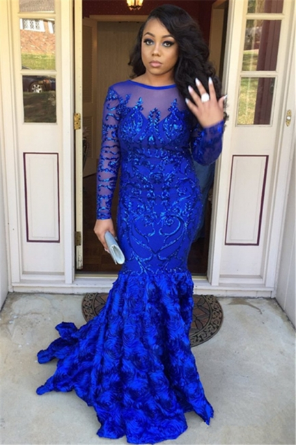 Royal Blue Long Sleeves Mermaid Prom Dresses |  Sexy Backless Evening Dresses SK0158