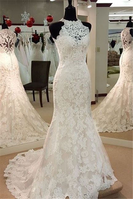Retro High Neck Mermaid Lace Wedding Dresses Sleeveless Vintage Bridal Dress BA3705