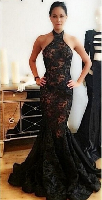 Sexy Backless Evening Gowns  Halter Black Lace Mermaid Prom Dresses