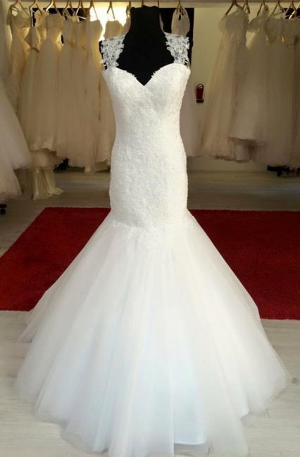 Elegant White Mermaid Lace Wedding Dress Sexy Open Back Floor Length Bridal Gown